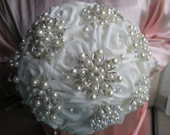 Wedding bridal brooch bouquet. Foam roses and 10 brooches.  Ivory with white satin. In hand and ready to ship. INTRODUCTORY PRICE (cheap)