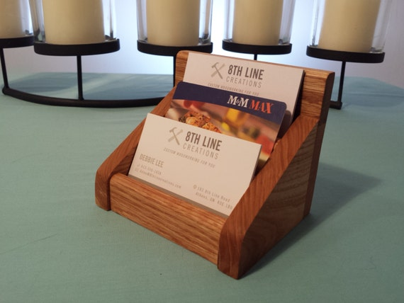 Solid Oak Multiple Business Card Holder by 8thLineCreations