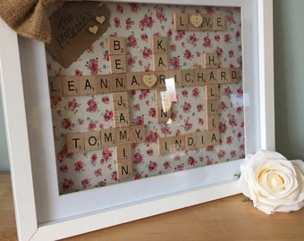 Vintage inspired scrabble frame. Perfect gift for weddings, christenings, anniversaries and birthdays.