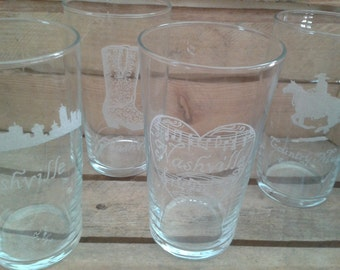 Engraved Country Pint Glasses