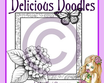 Digital Stamp - Hydrangea and Butterfly Frame