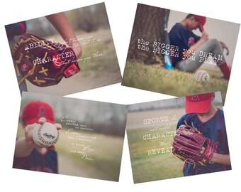 Set of Four Baseball Inspirational Fine Art Photography Prints (4x5.5)