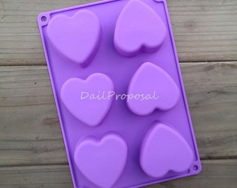 6 Heart Flat Bottom Non-Tapered Silicone Mold Flower Bakeware Pastry Chocolate Ice Candy Butter Jello Soap Making Cake Decoration Fondant