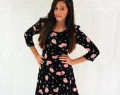 Black & Floral skater dress, Size 8-10