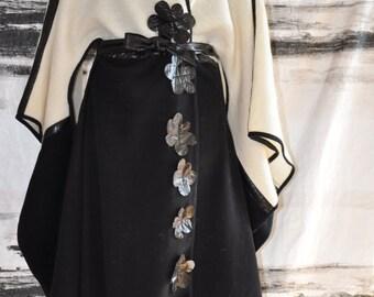 Black and White Cape Coat Cloak/Extravagant White Woman Cape/Jacket/Handmade Cape Coat/White Jacket/Extravagant Coat XXL coat Made by Gabyga