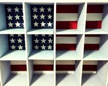 American Flag Shoe Shelf Cubbie Shelving Unit