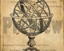 ARMILLARY SPHERE Vintage ASTROLABE Graphic Printable Image Antique Victorian Solar System Planetarium  Digital Clip Art for Transfers