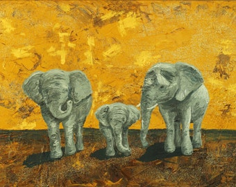Textural impasto elephant family