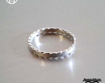 RING - Sterling Silver flat twisted Ring Flat rope ring Stackable ring(Handmade) by AwesoMore