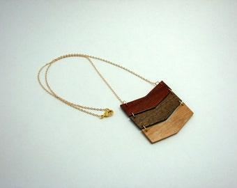 Natural Hardwood Chevron Pendant Necklace