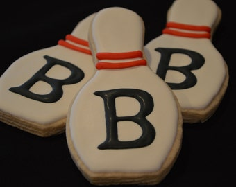 Bowling Pin Cookies with Custom Letter