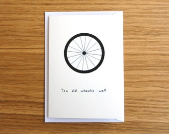 SALE * You Did Wheelie Well Card - Bike/Cycling/Cyclist Card // Well Done Card // Congratulations Card // For Cyclist