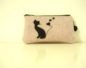 felt purse pink melange with cat silhouette and zipper. felt little bag