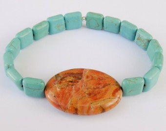 Handmade Natural Gemstone Bracelet - Turquoise Teal Magnesite and Grain Stone