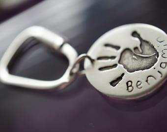 Silver Handprint Keyring, footprint keyring, keychain, personalised gift, Fathers day present, baby keepsake, daddy christmas gift