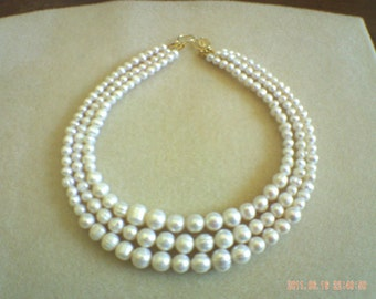 3 strand freshwater pearl necklace