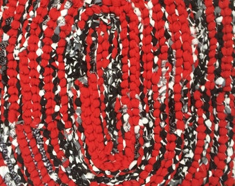 Modern Black, White, and Red Rag Rug