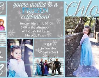 Frozen Chevron Frozen invitation Printable digital card invitation Birthday invitation card