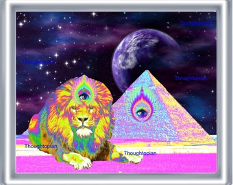 Visionary Lion Pyramid Art Print 8 x 10 – Third Eye - Spiritual - Psychedelic - Outerspace - Surreal - Egyptian - Pyramids - Cosmic - Pop