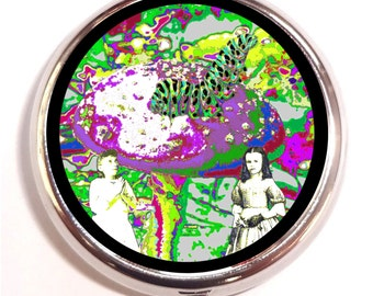 Alice in Wonderland Pill box Pillbox Case Holder - Psychedelic Visionary Music Festival Art - Rave - Pop Art - Trippy - Mushroom Catepillar