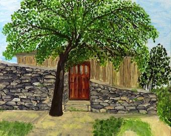 Landscape  building in Tsarevets, V.Tarnovo , Bulgaria EU.Original Painting, Handmade by Silvia Dimova