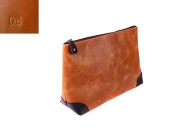 Personalised Leather Wash Bag By Vida Vida