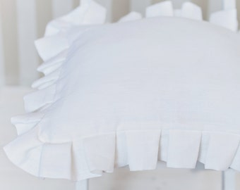 Linen pillow cover - Natural linen pillow case - White ruffled pillow cover