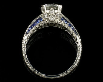 Edwardian Style 14k White Gold Diamond and Blue Sapphire  Engraved semi mount engagement ring, setting only, for 6.5 or 7.2 mm