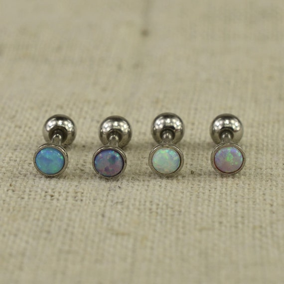 opal cartilage earrings items similar to opal tragus earrings opal cartilage 1603