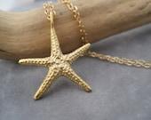 Starfish Pendant - Beach Inspired Jewelry - Summer Style - Gold Starfish - Starfish Charm - Star Fish