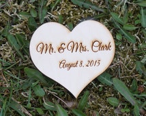 """4"""" Engraved wooden heart > 1 heart engrave 10 cm. Wedding heart. Hearts with names, mr and mrs hearts, monogram heart"""