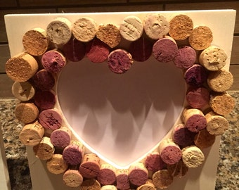 Wooden Heart Picture Frame with Wine Cork Embellishment