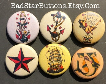 American Traditional Sailor Ocean Tattoo Button Set