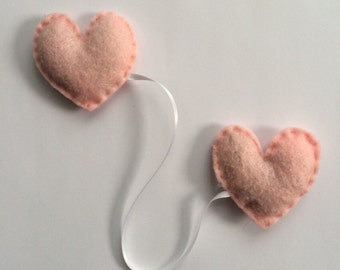 Handmade Felt Heart Catnip Cat Toys with Ribbon
