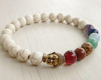 Mala bracelet, Buddha bracelet 7 chakra Bracelet Howlite bracelet Yoga bracelet tibetan mala Meditation Bracelet, Gemstone bracelet Mala