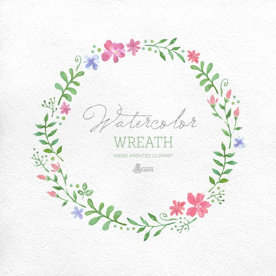 Watercolour Wreath Clipart Hand Painted Floral Frame Wedding Diy Elements Flowers Invite Country Blossom Spring Wildflowers