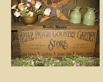 """Primitive~Distressed~Country~Garden~ Advertising Wood Sign~Briar Patch Country Garden Store 9.25"""" x 24"""""""