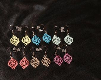 Small Metal Painted Earrings