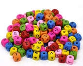 500 Mixed Alphabet /Letter Cube Wood Beads 10x9mm
