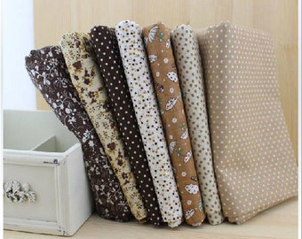 Fat Quarter Bundle - thin - VINTAGE BROWN collection - 7 fat quarters