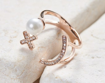 Smiley Ring - White gold/ Rose gold/ Yellow gold plated dainty
