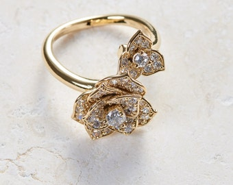 Rose Ring - White gold/ Rose gold/ Yellow gold plated dainty