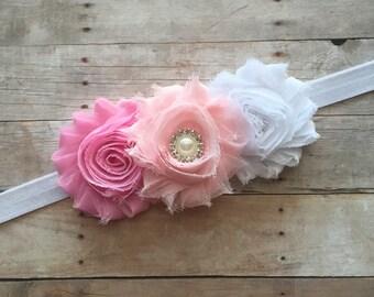 Baby Girl Headband, Shabby Chic Baby Headband, Vintage Headband, Pink headband, White Headband, Newborn Headband, Toddler Headband