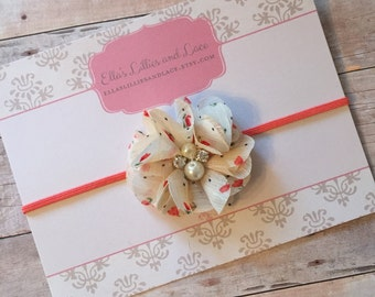 Baby Girl Headband, Floral headband, Baby headband, Toddler headband, Newborn Headband, Cream Headband, Baby photos headband, Ivory headband