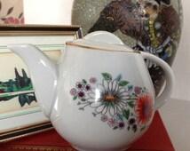 Retro, Small Teapot, With  Gilt Trim, Orange and White Flowers.  Made in Poland, bone china