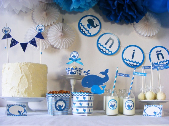Kit de fiesta baby shower ballenas gender reveal party for Novedades para baby shower