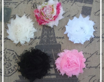 Choose 2 shabby chic flower hair clips, baby hair clips, toddler hair clips, Newborn hair clips, Photo prop, Flower hair clips