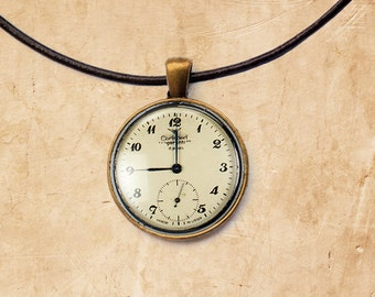 Watch pendant Antique necklace Clock jewelry