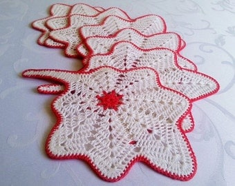Crochet Coasters, Set of 7 Leaf Coasters, Kitchen Table Decoration, Gift Idea