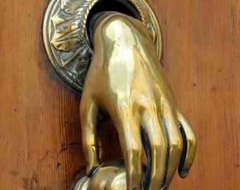 Door knocker, Wood door, Gold knocker, Hand, Barcelona, Spain, Fine art print, Wall art print, 8x8 - Gold hand II